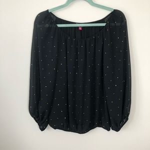 Vince Camuto Black Sheer Studded Blouse